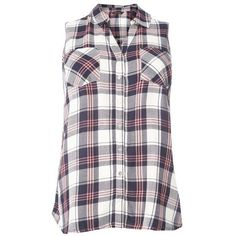 Navy Blue Sleeveless Check Shirt ($42) ❤ liked on Polyvore featuring tops, navy top, checkered shirt, sleeveless shirts, check pattern shirt and shirt top