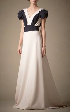 4-Ply Silk Crepe Gown With V-Neck by Carolina Herrera for Preorder on Moda Operandi