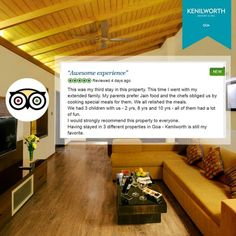 """""""Awesome Experience""""- This is how customers feel after visiting our resort! It's a pleasure to hear such lovely words from guests.   #KenilworthHotels #HappyCustomer #Luxury #Spa #Resort #Goa"""