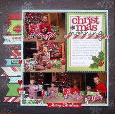 This layout will appear in the Scrapbook Cards Today Winter 2014 edition Journaling Daddy and I love watching you boys open your presents on Christmas morning There is so much joy and excitement on your little faces This year you got pretty much everythin Christmas Scrapbook Layouts, Scrapbook Paper Crafts, Paper Crafting, Scrapbooking Ideas, Christmas Layout, Christmas Albums, Christmas Paper, Scrapbook Supplies, Family Christmas