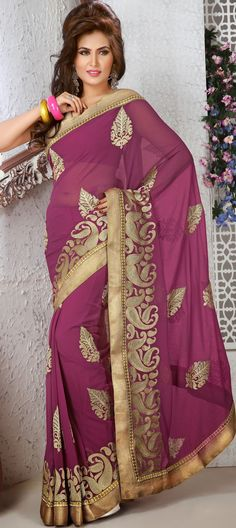 Violet-Red #Fancy #Chiffon #Saree Blouse | @ $79.62