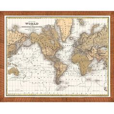 Vintage 'Map of the World' Framed Print ($177) ❤ liked on Polyvore featuring home, home decor, wall art, vintage wall art, map wall art, vintage home decor, vintage home accessories and horizontal wall art