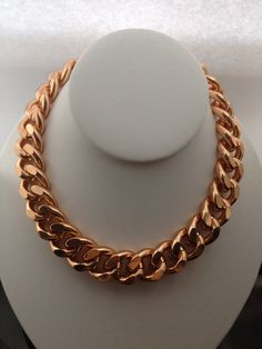 Rosegold Chunky Chain Necklace  by BlackPearlCouture on Etsy