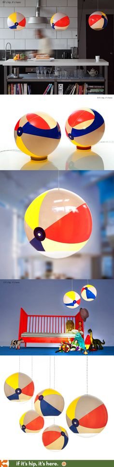 Beach Ball Lights in pendant or tabletop version come flat packed, ready to inflate and use!