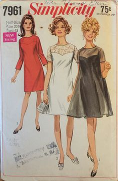 """VTG 7961 Simplicity (1968) dress in womens' & half sizes.  Size 20-1/2, Bust 43"""".  Complete, unused, neatly cut/FF. Excellent condition. by ThePatternParlor on Etsy"""