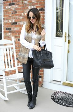 Faux Fur Vest in Striped Camel obsessed with vests! Fur Vest Outfits, Casual Outfits, Cute Outfits, Fall Winter Outfits, Autumn Winter Fashion, Fasion, Fashion Outfits, Love Clothing, Casual Chic