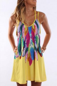 Feather Print Cami Dress