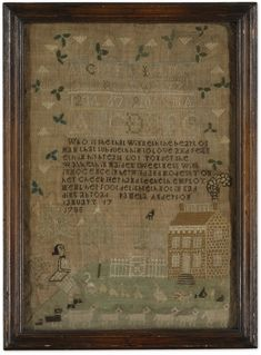 Hannah Robinson - English - 1791. Aged 10. Silk on linen. On original wood backing and green tape. Sold with Pamela Anderson and Mary Ann Blake samplers for 8,125 USD