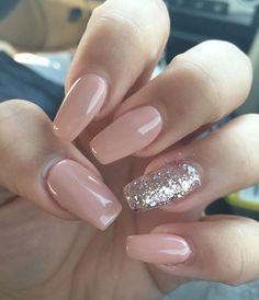 Glitter and coffee acrylic nail art design ideas #nail #nailacrylic #nailpolish