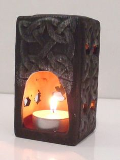 Brucia olio essenze in Terracotta Etnico  alto 10,5 cm idea regalo bruciaolio