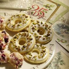 Lemon Pistachio Wreaths Recipe -I have made these fun and festive wreaths for the past few years. The zest from the lemon and crunch from the pistachios create a hard-to-resist sweet.