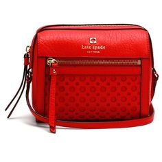 KATE SPADE Peri Lane Looloo Bubbles Bag | MAKES A GREAT GIFT |   Color is Empire Red, textured leather, zip top closure, bright pink interior with small slip pocket, shiny gold hardware, 7in(L) 6in(H) 4in(W) BRAND NEW! kate spade Bags