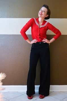 sweater: Hell Bunny (bought on super sale last winter), pants: vintage, US Navy issue, shoes: Hush Puppies, bracelet: family heirloom. Stylish Eve Outfits, Casual Work Outfits, Professional Outfits, Pretty Outfits, Cool Outfits, Vintage Pants, Vintage Dresses, Vintage Outfits, Nautical Outfits