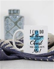 Personalised All Things Through Christ Mug Pink Happy Birthday, Happy Birthday Candles, Happy Birthday Balloons, Lucky To Have You, Owl Always Love You, Gift Of Faith, Star Candle, Heart Emoji, Easter Flowers