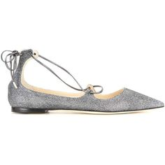 Jimmy Choo mytheresa.com Exclusive Vita Glitter Lace-Up Ballerinas (2.335 HRK) ❤ liked on Polyvore featuring shoes, flats, lace up shoes, ballet flats, glitter ballet shoes, laced up flats and lace up ballerina shoes