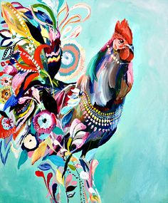 """Unique & Affordable Artwork¦Selling Art like Starla Michelle Halfmann's """"Rooster"""" Responsibly Art And Illustration, Rooster Painting, Rooster Art, Chicken Painting, Chicken Art, Chicken Animal, Arte Do Galo, Art Abstrait, Selling Art"""