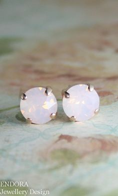 rose gold pink opal crystal stud earrings | pink opal earrings | pink crystal earrings | www.endorajewellery.etsy.com