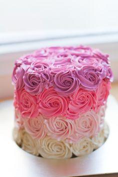 Pink Ombre Rose Cake Tutorial & Recipe | bsinthekitchen.com #bsinthekitchen #dessert #ombrecake