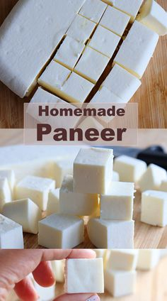 Paneer, an Indian cheese made by curdling milk with lemon juice/vinegar. One of the easiest cheese that can be made in home with any special tools #homemadepaneer #paneer #indiancottagecheese Mushrooms Recipes, Garlic Mushrooms, Sweets Recipes, Cheese Recipes, Healthy Recipes, Easy Cheese, How To Make Cheese, Indian Cheese, How To Make Paneer