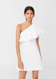 Asymmetric white denim dress by Mango White Denim Dress, Womens Denim Dress, Dresses Elegant, Beautiful Dresses, English Clothes, Spring Fashion 2017, Evening Dresses, Prom Dresses, Mode Boho