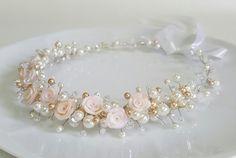 Flower Bridal TiaraWedding HeadpieceRoses CrownPearls