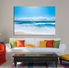 Large Wall Art Canvas Print Shiny Blue Sea and Beach
