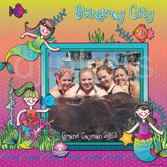 mermaid scrapbook page, stingray city, mermaid clip art