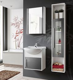 Domino Wall Mounted Bathroom Furniture Set with Mirror and Storage Cabinet Belfry Bathroom Bathroom Mirror Cabinet, Mirror Cabinets, Bathroom Storage, Classic Bathroom Furniture, Bathroom Interior, Yellow Bathrooms, White Bathroom, Cabinet Shelving, Bathroom Shower Curtains