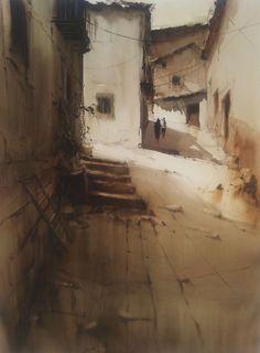 Francisco Castro(Spanish, b.1971) Los Yebenes   watercolor
