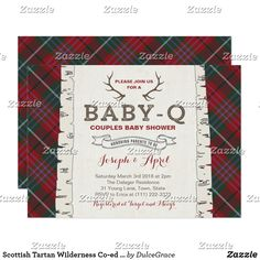 Wolf cub plaid winter forest baby shower for boy invitation baby scottish tartan wilderness co ed baby shower invitation baby q couples baby shower invitation filmwisefo