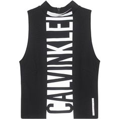 CALVIN KLEIN JEANS CK Sport D-Top Mock Neck Cropped // Short tanktop... (135 RON) ❤ liked on Polyvore featuring tops, tank tops, print crop tops, crop tops, cut-out crop tops, mock neck top and short tops