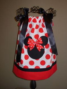Minnie Mouse Pillowcase Dress Big Red Polka Dots (extra for personalization). $20.00, via Etsy.