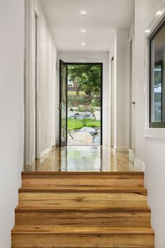 Modern Entrance And Hallway With Split Level.