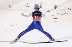 Michael Hayboeck of Austria reacts after the final round on Day 2 of the Four Hills Tournament ski jumping event at Paul-Ausserleitner-Schanze on January 2017 in Bischofshofen, Austria. Michael Hayböck, Ski Jumping, Cute Posts, Hoodies, Sweatshirts, Austria, Motorcycle Jacket, Skiing, Cool Pictures