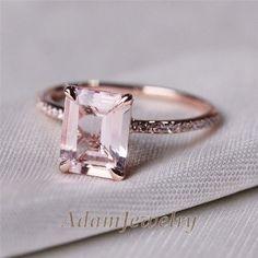 VS 7x9mm Emerald Cut 14K Rose Gold Morganite Diamond Engagemt Wedding Ring