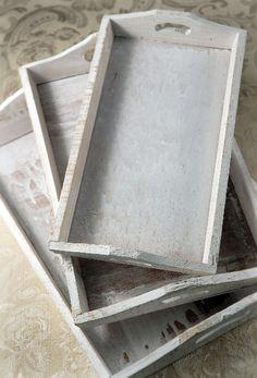white washed wood trays