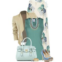A fashion look from March 2015 featuring cotton sleeveless tops, brown blazer and floral print maxi skirt. Browse and shop related looks. Fall Fashion Outfits, Work Fashion, Modest Fashion, Autumn Fashion, Womens Fashion, Classy Outfits, Chic Outfits, Skirt Outfits, Printed Maxi Skirts