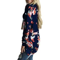 Yayu Womens Long Sleeve Floral Print Front Open Stylish Irregular Cardigan >>> Want additional info? Click on the image. (This is an affiliate link) #Sweaters