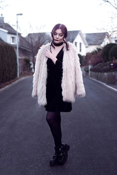 Selina Faux Fur Coat #1 | Picture taken with self timer for one of my outfit posts | Moonlight Bohemian Outfit Posts, My Outfit, Fur Jacket, Fur Coat, Black Velvet Dress, Fake Fur, Black Choker, Winter Outfits, Fashion Photography