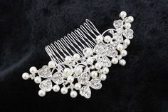 Silver Bridal Hair CombFloral Crystal Bridal by PearlyBrides