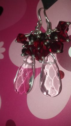 Clear and Ruby Crystal Cluster Drop Earrings by EleanorGraceDesign, $35.00