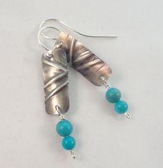 Sleeping Beauty Turquoise Fold Formed Sterling Silver Earrings by Ella & Tess, $95.00
