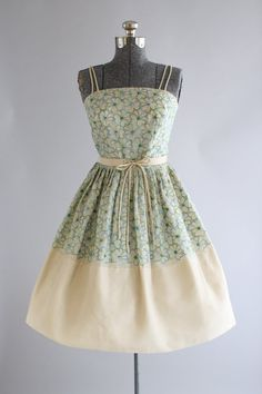 Vintage 1950s Dress / 50s Party Dress / Blue and Green Floral Embroidered Dress w/ Original Waist Tie XS