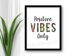 INSTANT DOWNLOAD Positive Vibes Only Printable digital poster typography island sign saying quote home decor wall boho chic rasta reggae