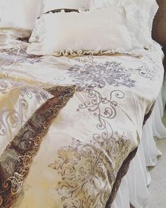 FRENCH LUXE DUVET COVER is perfectly rustic & beautiful. It feels luxurious and is super soft to sleep on. - It has a beautiful copper gold brown colour with embroidered luxe black lace border - It is made of 100% cotton material, perfectly soft & luxurious - There is a light shine Ruffle Bedspread, Lace Bedding, Lace Border, Bed Spreads, Pillow Shams, French Country, Duvet Covers, Comforters, Feels