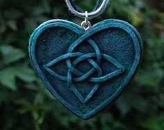 blue celtic heart pendant knotwork necklace love knot pendant celtic knot necklace old stone necklace celtic fantasy celtic knot work