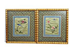 Asian Silk Embroidered Tapestry Bamboo Framed Chinoiserie Art