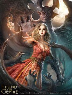 legends of the cryptids sorciere Dark Fantasy Art, Fantasy Demon, Fantasy Kunst, Fantasy Art Women, Fantasy Girl, Fantasy Artwork, Fantasy Inspiration, Character Inspiration, Character Portraits