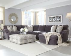Grey sectional with light blue walls Bradley Sectional. Not a fan of the light blue walls. - DIY Home Decor Living Room Pillows, Living Room Sectional, Cozy Living Rooms, Living Room Modern, Living Room Sofa, Living Room Furniture, Living Room Designs, Living Room Decor, Small Living