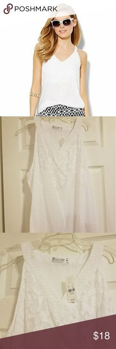 NWT New York and Company White V Neck Lace Top XXL Gorgeous NEW WITH TAGS. New York and Company white v neck top. Lace on the front. Originally $44.95. SZ XXL. New York & Company Tops